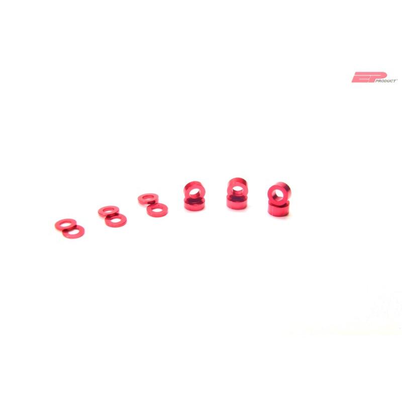 EP Alu Distanzhalter-Hülse M3x2mm - Rot_13304
